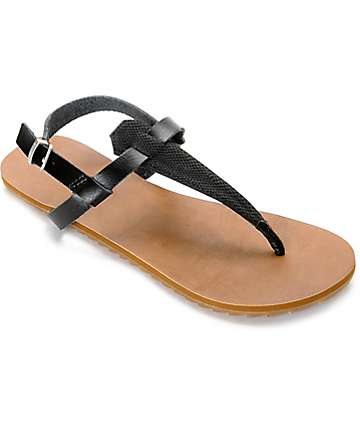 Volcom Maya Black & Tan Leather Sandals