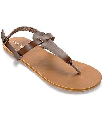 Volcom Maya sandalias de cuero marrón