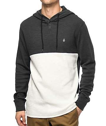 Volcom Murphy camiseta henley en blanco y color carbón