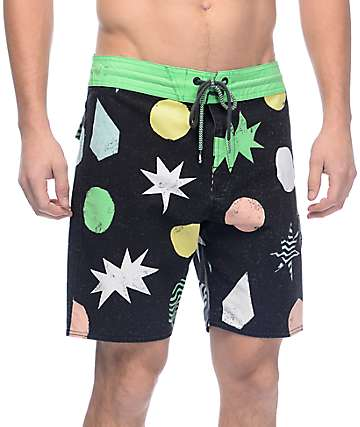 "Volcom Polka Stoney Black & Green 18"" Board Shorts"