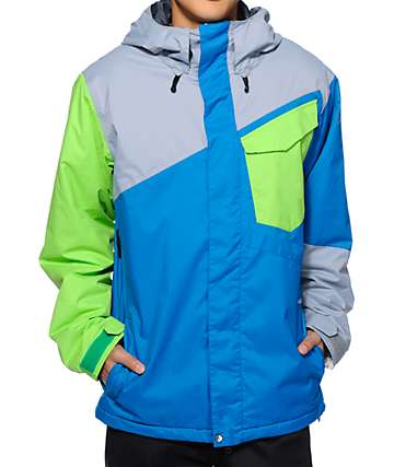 Volcom Profile Grey, Green & Blue 10K Snowboard Jacket