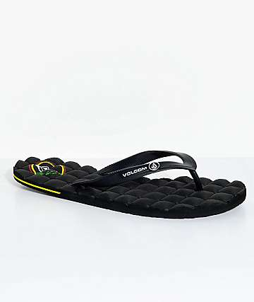 Volcom Recliner Hawaiian Black Rubber Sandals