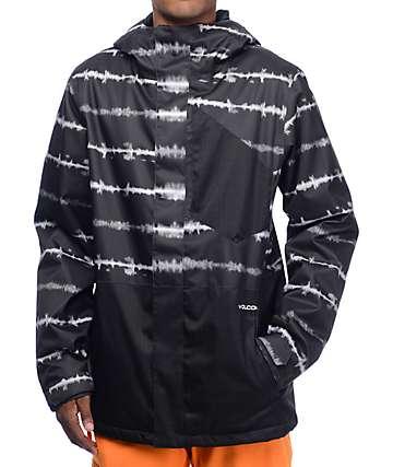 Volcom Retrospec chaqueta de snowboard 8K en teñido anudado negro