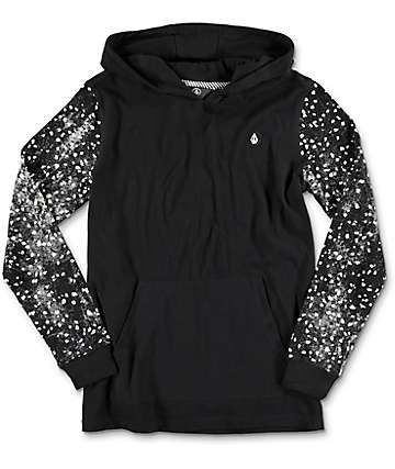 Volcom Reverb Hooded Black Youth Long Sleeve Knit T-Shirt