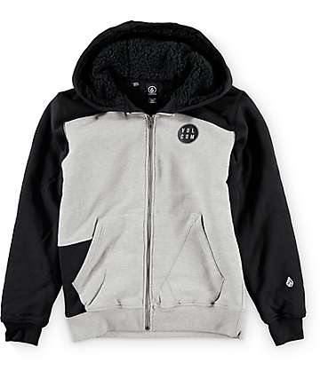 Volcom Rixford Lined Zip Up Heather Grey & Black Hoodie