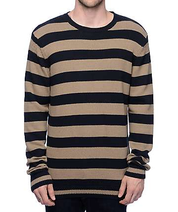 Volcom Robson Khaki & Black Striped Sweater