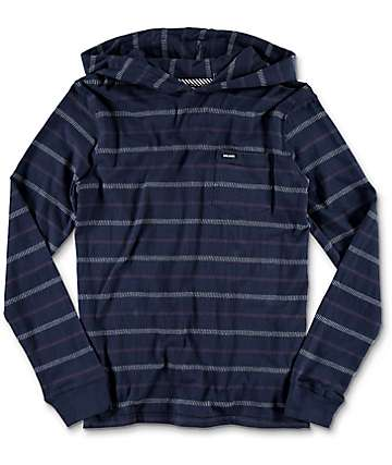 Volcom Sanders Hooded Navy Youth Long Sleeve T-Shirt