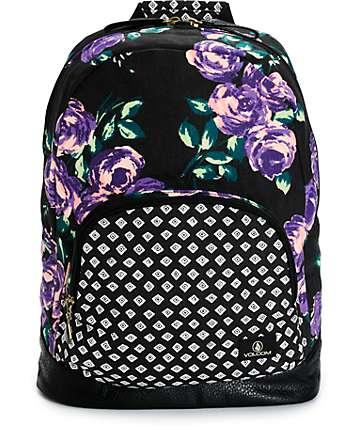Volcom Schoolyard Purple Floral Backpack