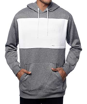 Volcom Section Ate Grey & White Tech Fleece Hoodie