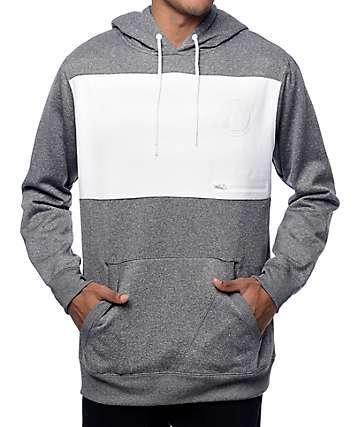 Volcom Section Ate chaqueta polar con capucha en gris y blanco