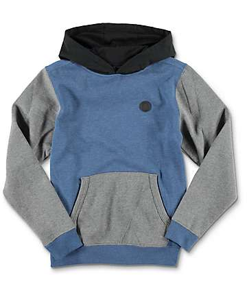 Volcom Single Stone Colorblock Smoke Blue Youth Pullover Hoodie