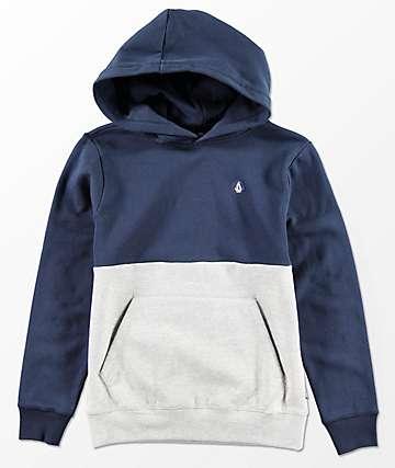 Volcom Single Stone Division sudadera con capucha en azul marino y gris para niños