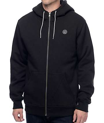 Volcom Single Stone Sherpa Black Fleece Zip Hoodie