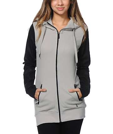 Volcom Squadron Grey Zip Up Tech Fleece Jacket