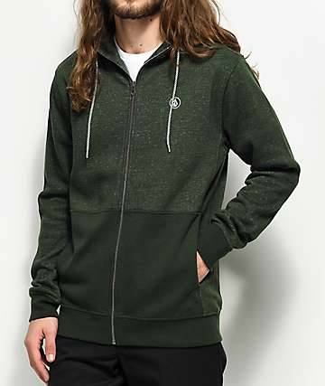 Volcom Static Stone Heather Green Zip Up Hoodie