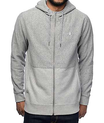 Volcom Static Stone Heather Grey Zip Up Hoodie