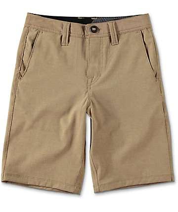Volcom Surf N' Turf Static shorts híbridos para niños en caqui oscuro