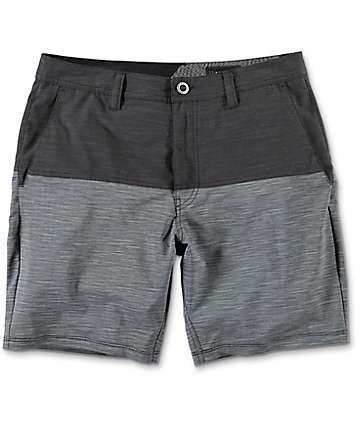 Volcom Surf N Turf Block Grey & Charcoal Hybrid Shorts