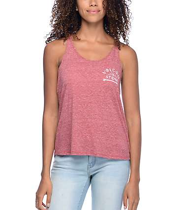 Volcom This Way Twist Red Tank Top