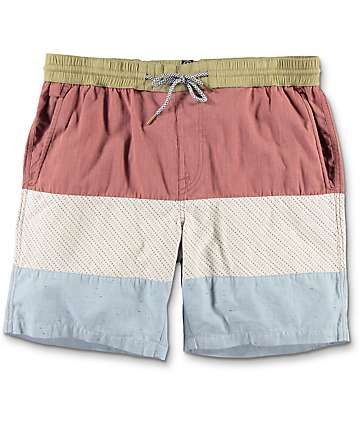 "Volcom Threezy 17"" Red & Blue Elastic Waist Shorts"