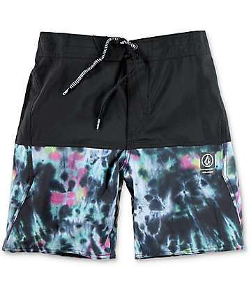 Volcom Vibes Boys Tie Dye & Black Board Shorts