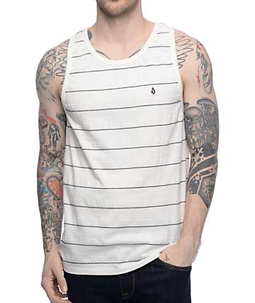 Volcom Wowzer White & Black Stripe Tank Top