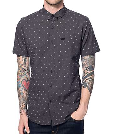 Volcom Zeller Black Print Button Up Shirt