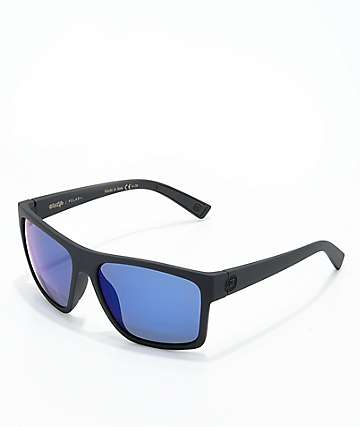 Von Zipper Dipstick Polarized Black Satin & Blue Sunglasses