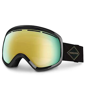 Von Zipper Skylab Black Gloss & Gold Chrome Snowboard Goggles