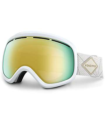 Von Zipper Skylab White Gloss & Gold Chrome Snowboard Goggles