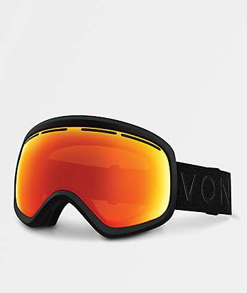 VonZipper Skylab Black Satin Fire Chrome Snowboard Goggles