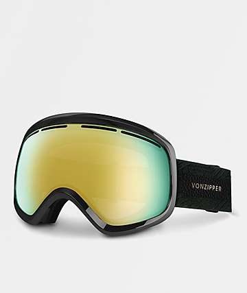 VonZipper Skylab Black Satin Gold Chrome Snowboard Goggles
