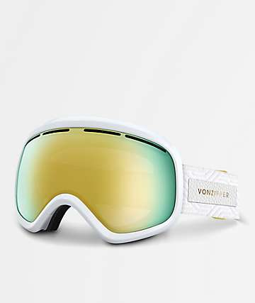 VonZipper Skylab White Satin Gold Chrome Snowboard Goggles
