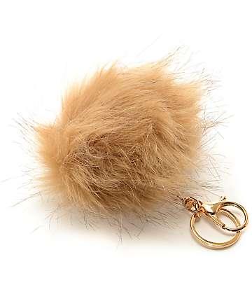 Warm Taupe Fuzzy Bag Charm