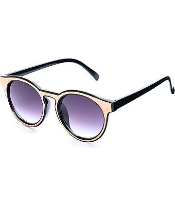 Wave Decker Black & Gold Round Sunglasses