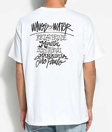 Waves For Water Shawn Stussy White Pocket T-Shirt