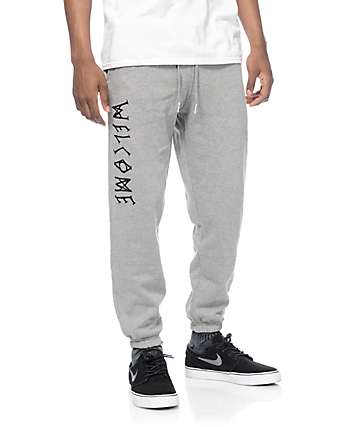 Welcome Scrawl Heather Grey Sweatpants