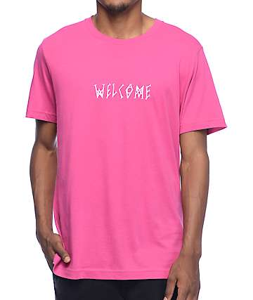 Welcome Scrawl Pink T-Shirt