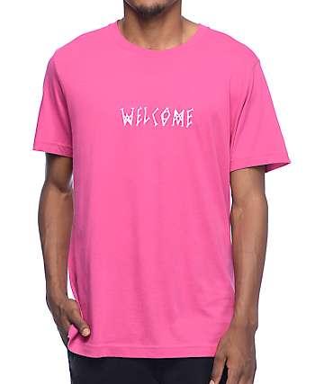 Welcome Scrawl camiseta rosa