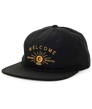 Welcome Skateboards Dark Energy Unstructured Black Strapback Hat