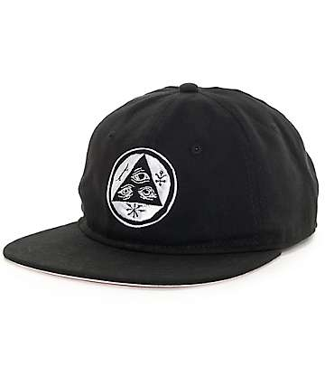 Welcome Skateboards Talisman Unstructured Black Strapback Hat