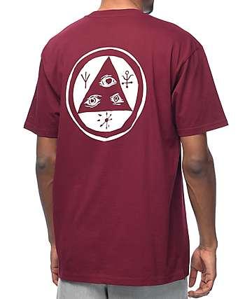 Welcome Talisman camiseta en blanco y color vino