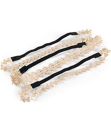 White & Gold Lace Headbands