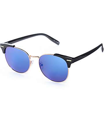 Willow Round Wire Black & Blue Retro Sunglasses