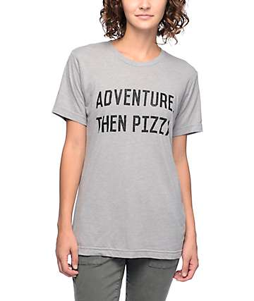 Wish You Were Northwest Adventure Then Pizza Heather Grey T-Shirt