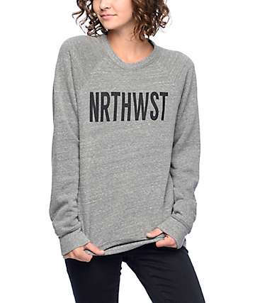 Wish You Were Northwest Heather Grey Crew Neck Sweatshirt