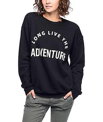Wish You Were Northwest Long Live Adventure sudadera negra con cuello redondo