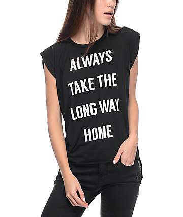 Wish You Were Northwest Long Way Home Black T-Shirt