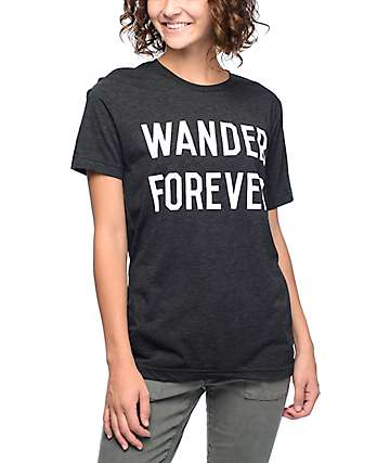 Wish You Were Northwest Wander Forever camiseta de color carbón