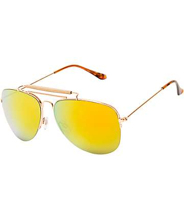 Wood & Gold Aviator Sunglasses